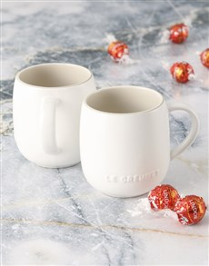 gifts: Cotton Le Creuset Mugs and Chocolate!