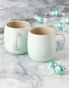 gifts: Mint Green Le Creuset Mugs and Chocolate!