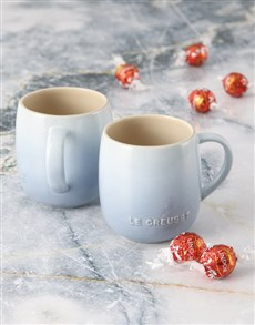 gifts: Blue Le Creuset Mugs and Chocolate!
