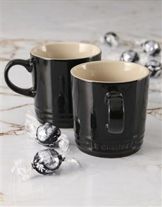 gifts: Shiny Black Le Creuset Mugs and Chocolate!
