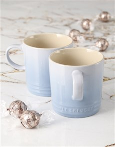 gifts: Coastal Blue Le Creuset Mugs and Chocolate!