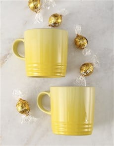 gifts: Soleil Le Creuset Mugs and Chocolate!