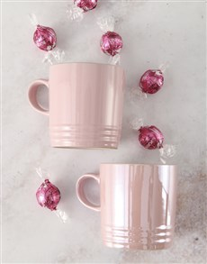 gifts: Shiny Pink Le Creuset Mugs and Chocolate!