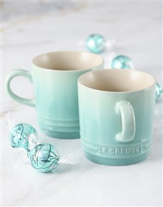 gifts: Metallic Mint Le Creuset Mugs and Chocolate!