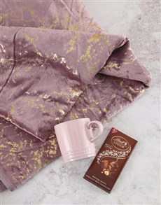 gifts: Pink Throw And Le Creuset Mug Hamper!