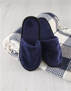 gifts: Checked Blanket With Navy Slippers!