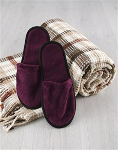 gifts: Cosy Checked Blanket With Purple Slippers!