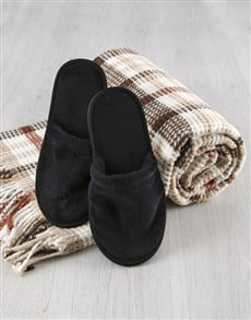 gifts: Checked Blanket And Black Slippers!