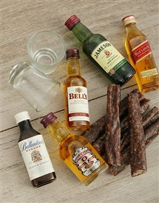 gifts: Assorted Mini Whiskey Bottles with Biltong!