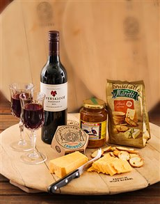 Gifts and Hampers - All Gifts: Cheese and Wine Trudeau Board with Glasses!