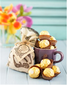 Le Creuset Mug with Coffee & Ferrero Rocher