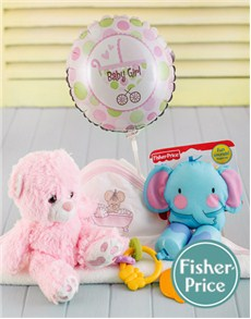 for Baby - Hampers and Gifts: Baby Girl Hamper with Fisher Price Toy!