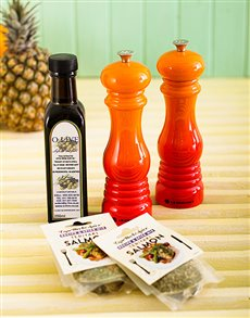 gifts: Le Creuset Flame Salt and Pepper Mills!