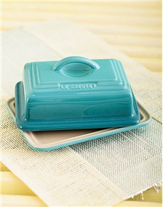 gifts: Le Creuset Butter Dish   Caribbean Blue!