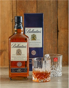 Gifts and Hampers - All Gifts: Ballentines Whiskey and Crystal Glasses!