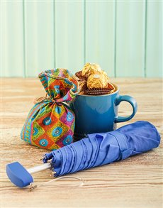 gifts: Blue Le Creuset Mug and Umbrella Gift!
