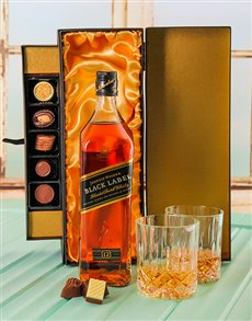 gifts: Johnnie Walker Black Whiskey & Chocolate Gift Box!