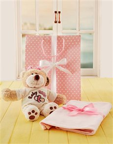 Gifts and Hampers - All Gifts: Baby Girl Teddy and Blanket Set!