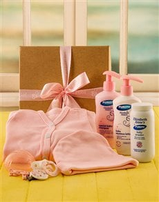 Gifts and Hampers - All Gifts: Baby Girl Toiletry and Babygrow Gift!