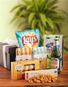 gifts: Peroni Beers and Snacks!