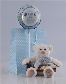 gifts: Its a Boy Teddy and Nougat Hamper!