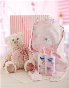 gifts: Baby Girl and Bear Gift Set!