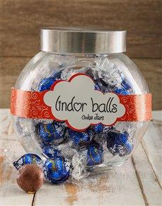 gifts: Dark Bue Lindt Chocolate Truffle Candy Jar!