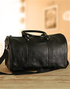 gifts: Busby Black Leather Duffel Bag!