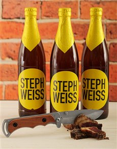Picture of Steph Weiss Craft Beer with Biltong Knife!