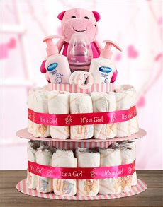 gifts: Baby Girl Hippo Nappy Cake!