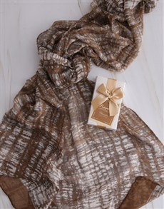 gifts: Taupe Polka Dot Scarf Hamper!