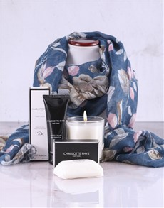 gifts: Charlotte Rhys Pamper Box And Blue Floral Scarf!