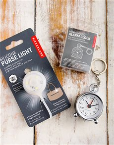 gifts: Purse Light and Travel Clock!