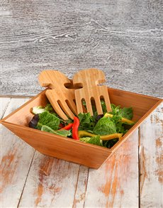 Gifts and Hampers - All Gifts: Bamboo Salad Bowl & Salad Servers!