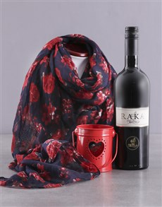 gifts: Red Polka Dot Scarf and Wine Gift!