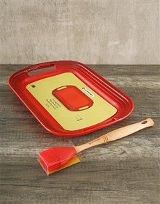 gifts: Le Creuset BBQ Platter & Basting Brush!