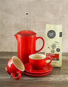 gifts: Le Creuset Cherry Coffee Set and Assorted Coffee!