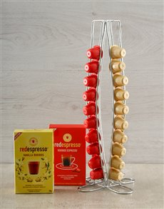 gifts: Vanilla and Red Espresso Capsules with Pod Holder!
