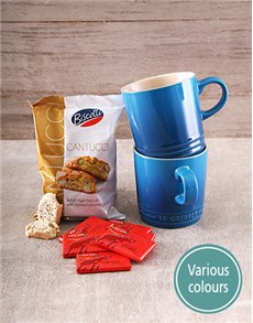 gifts: Set of Le Creuset Mugs with Cote D'or Chocs!