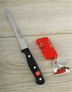 gifts: Wusthof Gourmet Boning Knife and Red Sharpener!