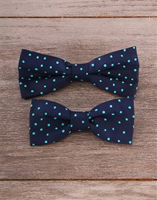 gifts: Father and Son Blue & Mint Bow Tie Set!