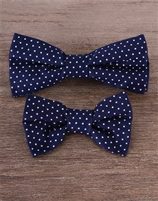 gifts: Father and Son Blue & White Bow Tie Set!