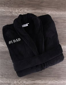 gifts: Number 1 DAD Black Fleece Gown!