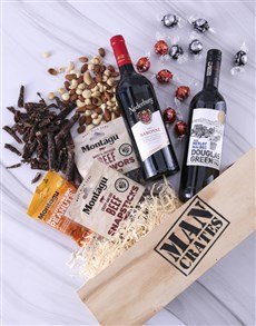 gifts: Snack and Wine Filled Man Crate!