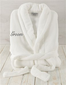 gifts: Groom White Fleece Gown!