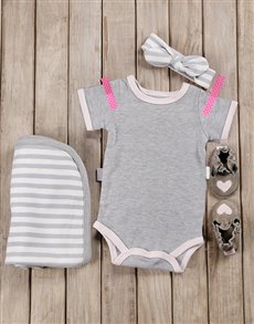 gifts: Pink & Grey Baby Girl Outfit!