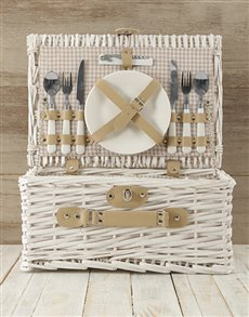 gifts: Two Person White & Gold Picnic Basket!