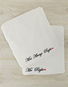gifts: Mr Right and Mrs Always Right Bath Sheet Set!