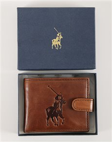 gifts: Brown Polo Colorado Tab Wallet!