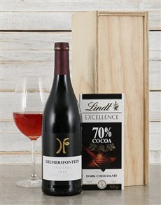 gifts: Diemersfontein Pinotage and Lindt Crate!